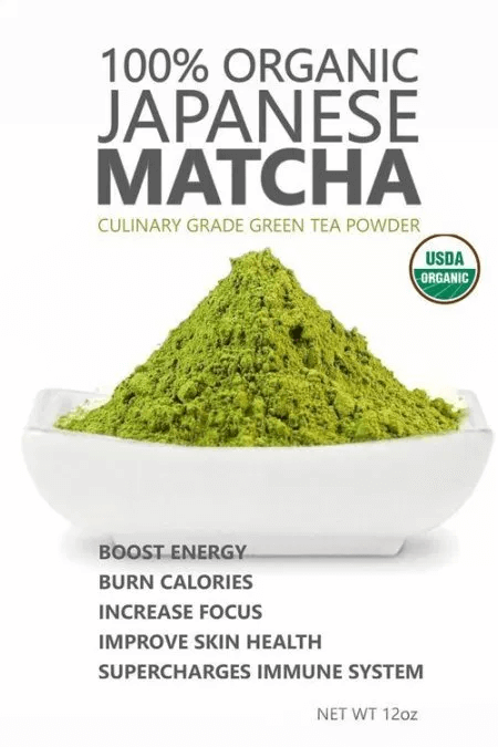Use overlayed text to list product benefits matcha