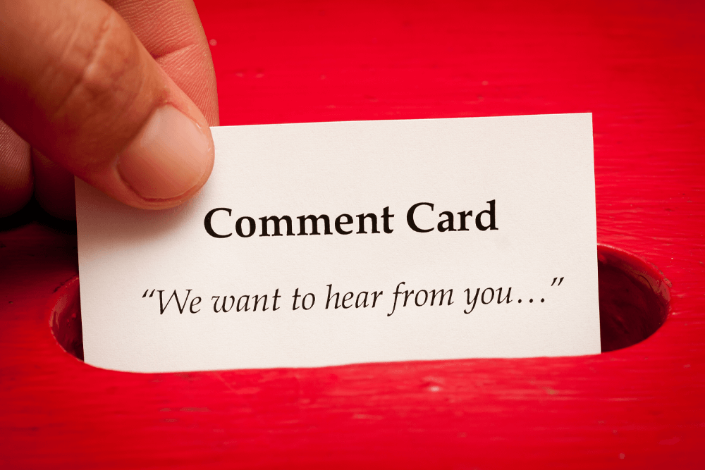 product insert comment card