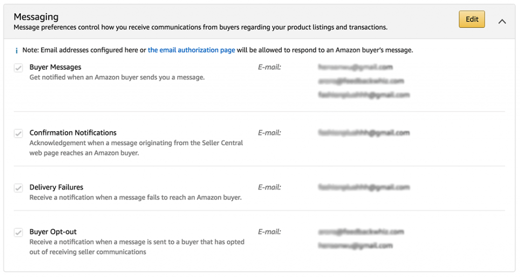 amazon seller central notifications buyer messages