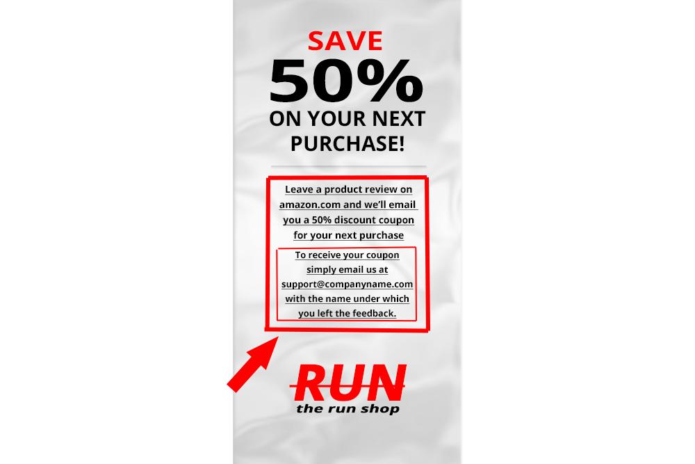 the run shop product insert card