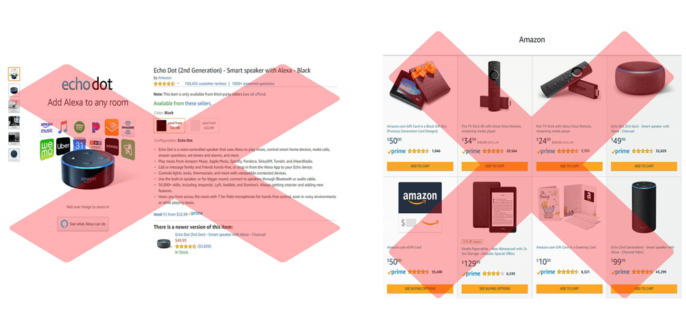 do not link to your Amazon storefront or listing page