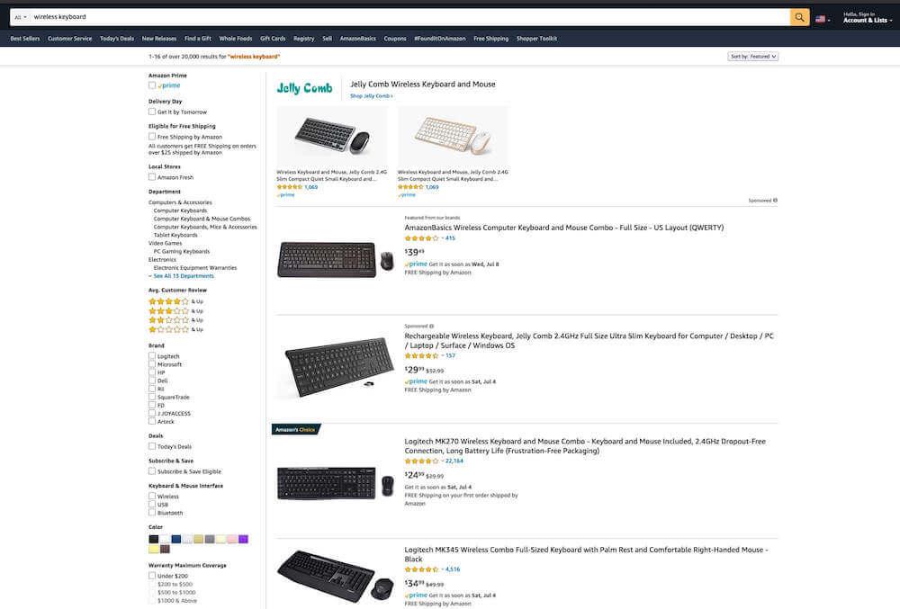 wireless keyboard rankings amazon