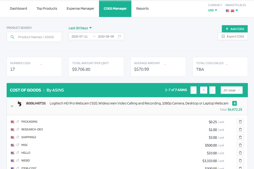 Customizable expense and cost of goods sold management