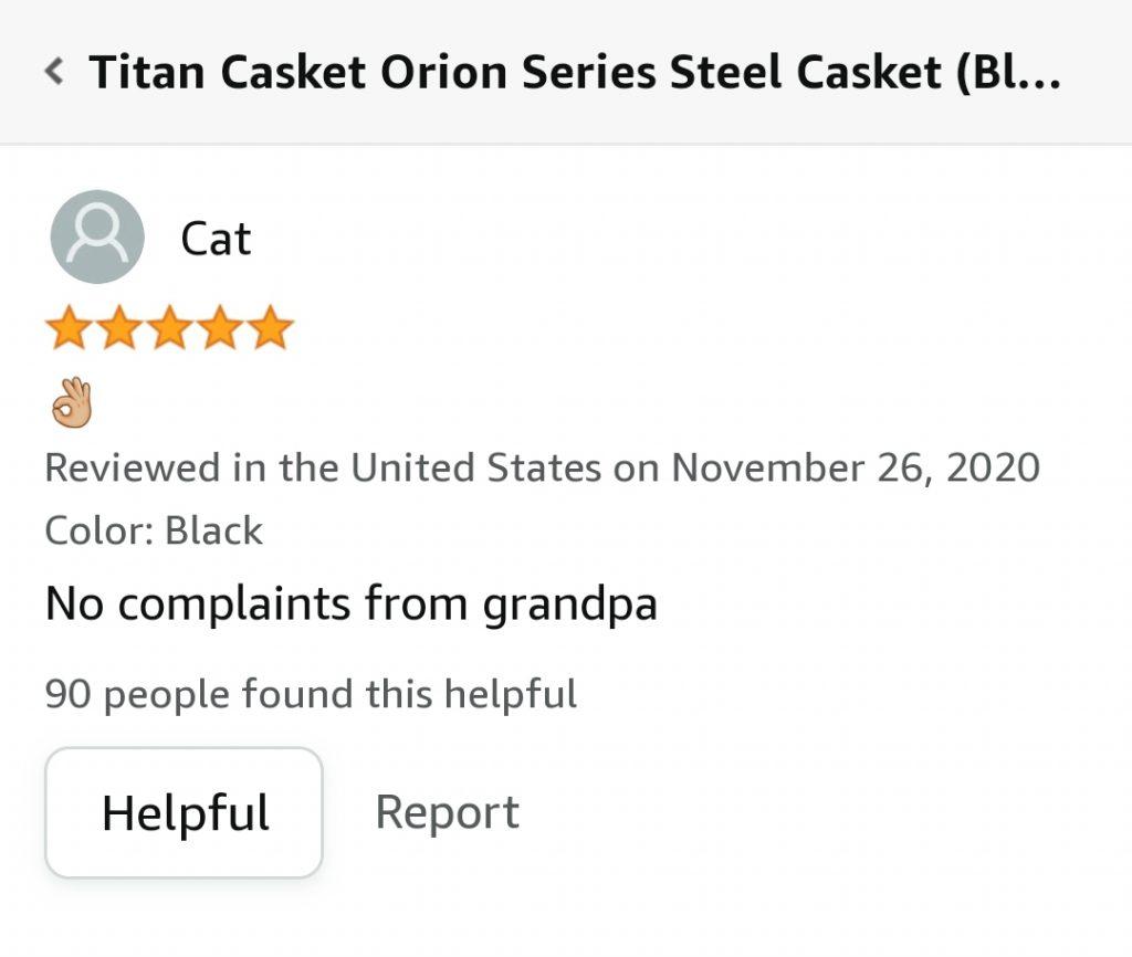 hilarious amazon review casket