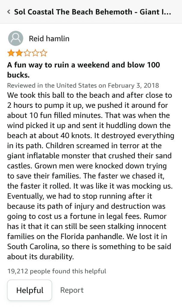 funny amazon review beach ball